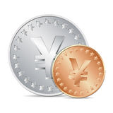 illustration of two coins with yen sign Royalty Free Stock Photo