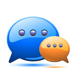 Illustration of two coloured communication bubles Stock Images