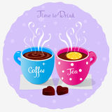 Tea Party. Illustration of two cups of coffee and tea and sweets Stock Photos