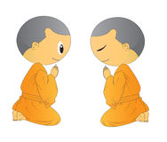 Illustration of two Cute Begging young monk cartoon Royalty Free Stock Photo