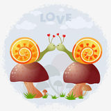 Snail. Illustration of two cute snail on mushrooms Royalty Free Stock Photo