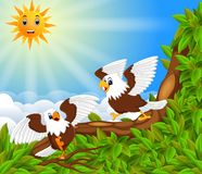 Two dahing eagle perch on the trunk on the sunny day in the forest. Illustration of two dahing eagle perch on the trunk on the sunny day in the forest royalty free illustration