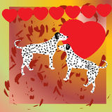 Illustration with two dogs and heart Royalty Free Stock Image