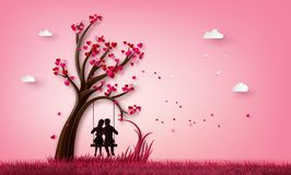 Two enamored under a love tree. stock illustration
