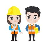 Illustration of two engineer workers. stock illustration
