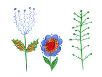 Illustration of two fabulous unusual shrubs and a flower fairy Royalty Free Stock Photo