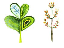 Illustration of two fabulous unusual trees, shrubs and leaves Stock Images