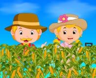 Two farmers in a corn field. Illustration of two farmers in a corn field Royalty Free Stock Image