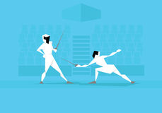 Illustration Of Two Female Fencers Competing In Event stock illustration