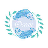 Illustration with two fish, algae and the word `Ocean`. Illustration depicting two swimming blue fish on a background of light purple circle, green algae on the Stock Images