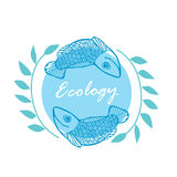 Illustration with two fish, algae and the words `Ecology`. Illustration with the image of two floating fish on blue background with light blue circle, green Stock Images