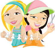 Illustration Of Two Friends. 2 happy best friends sharing a craft project by making a paper doll chain Royalty Free Stock Images