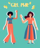 Illustration of two girls in bright clothes. royalty free illustration
