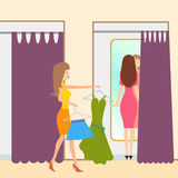 Two girls in a fitting room. Illustration of two girls in a fitting room Stock Images