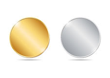 illustration of two golden and silver blank coins. EPS Royalty Free Stock Photography