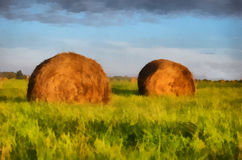 Illustration, two haystack Royalty Free Stock Photos
