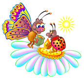 Illustration of two insects sitting on a flower. Royalty Free Stock Photos
