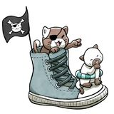 Pirate cats sailing on shoes isolated in white background stock illustration