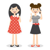 Illustration of two little cute girls with smartphones Stock Photos