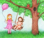 Illustration of two little girls having fun on a swing outdoor stock illustration