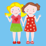 Illustration of two little girls waving Stock Images