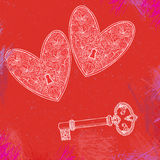 Illustration of two locked hearts and one key Royalty Free Stock Photo