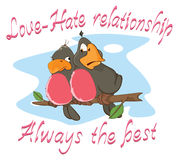 Illustration of a Two Love birds, an Adage. Postcard Stock Image