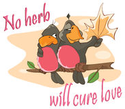 Illustration of a Two Love birds, an Adage. Postcard Stock Images