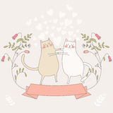 Illustration of two in love cats Stock Images