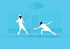 Illustration Of Two Male Fencers Competing In Event vector illustration