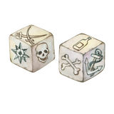 Illustration of two old pirated dice. Stock Photo