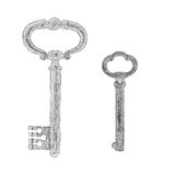 Illustration of two ornate keys Royalty Free Stock Images