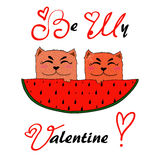 Illustration of two red cartoon cats in love Royalty Free Stock Photo