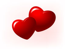 Illustration of two red hearts. Illustration of two loving red hearts Royalty Free Stock Image