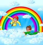 Two skydivers are flying in the sky stock illustration