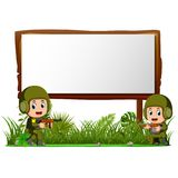 Two soldiers by wooden signboard at the jungle. Illustration of two soldiers by wooden signboard at the jungle Stock Photos