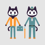 Illustration of two stylish kittens Royalty Free Stock Photography