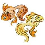 Illustration of two stylized gold fish Stock Image