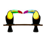 Illustration of two toucans. On white background Royalty Free Stock Photo