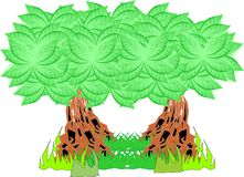 Illustration of two trees with green leaves. Animated illustration Royalty Free Stock Photo