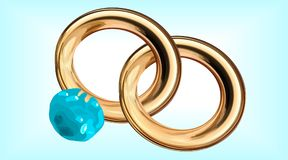 Illustration of two wedding rings sapphire gold, , on a blue background. Illustration of two wedding rings with one sapphire gold, , on a blue background Stock Photos