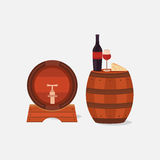 Illustration of two wine barrels. Stock Photos