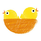 Chicks on nest. Vector illustration of two yellow chicks in nest - Easter stock illustration