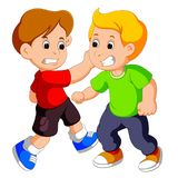 Two young boys fighting. Illustration of Two young boys fighting Royalty Free Stock Image
