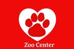 Illustration of typographic wallpaper. Zoo center. Illustration typographic wallpaper zoo center cat dog white red logo paw pet animal wild life care health art royalty free stock photo