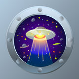 Illustration UFO  starry sky Royalty Free Stock Photo