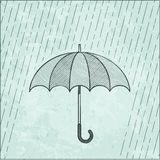 Illustration of umbrella in the rain Royalty Free Stock Images