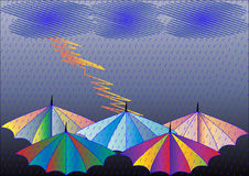 Illustration umbrellas in rain Royalty Free Stock Photography