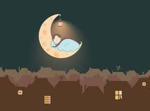 Illustration - un enfant dormant sur la lune de fromage, au-dessus de la ville de conte de fées Image libre de droits