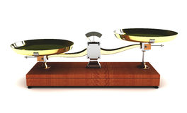 Illustration of unbalanced scales on white background Royalty Free Stock Photos